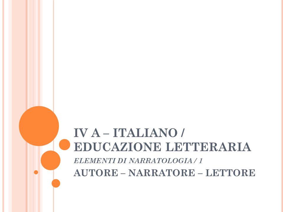 IV A – ITALIANO / EDUCAZIONE LETTERARIA ELEMENTI DI NARRATOLOGIA / 1 AUTORE – NARRATORE – LETTORE