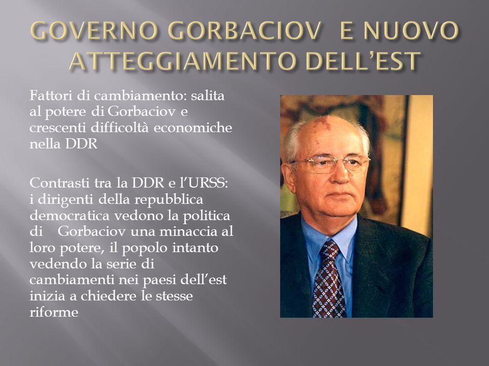 Fattori di cambiamento: salita al potere di Gorbaciov e crescenti difficoltà economiche nella DDR Contrasti tra la DDR e lURSS: i dirigenti della repu