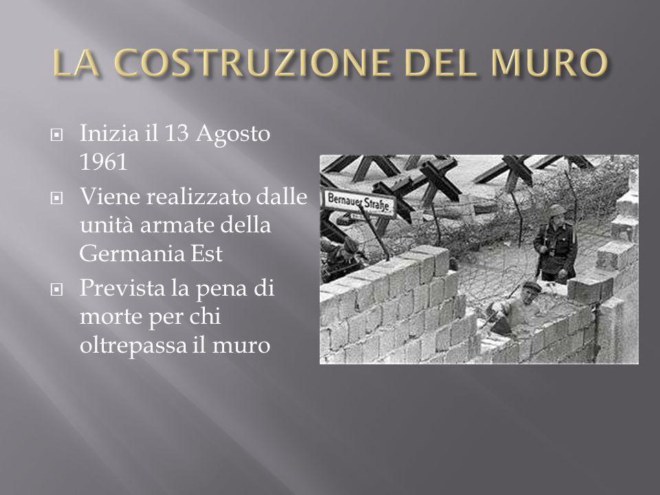 Inizia il 13 Agosto 1961 Viene realizzato dalle unità armate della Germania Est Prevista la pena di morte per chi oltrepassa il muro
