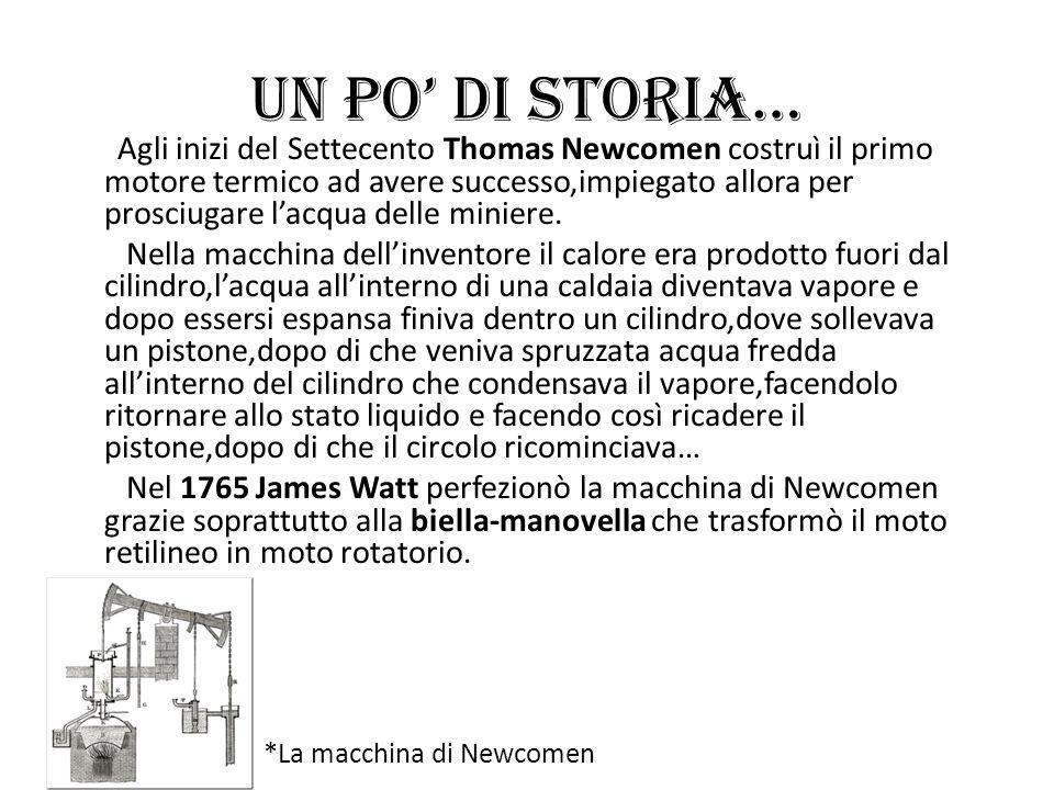 Un po di storia… Agli inizi del Settecento Thomas Newcomen costruì il primo motore termico ad avere successo,impiegato allora per prosciugare lacqua d
