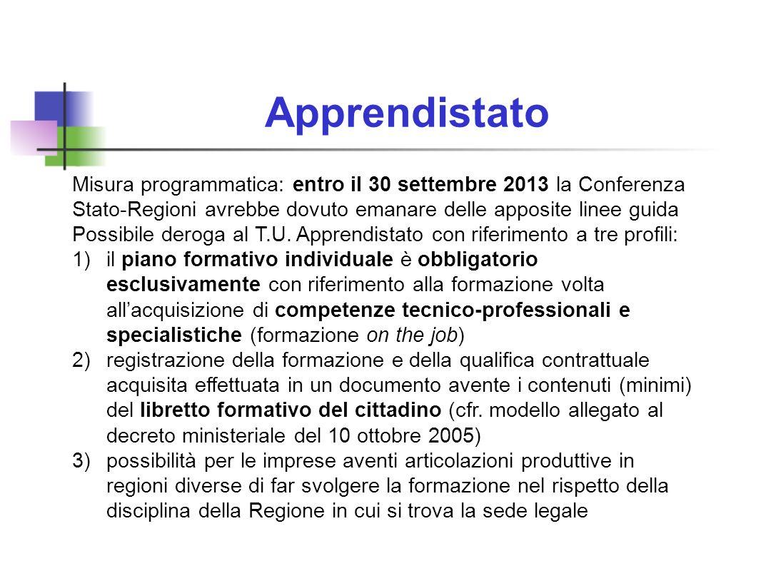 Apprendistato Misura programmatica: entro il 30 settembre 2013 la Conferenza Stato-Regioni avrebbe dovuto emanare delle apposite linee guida Possibile deroga al T.U.