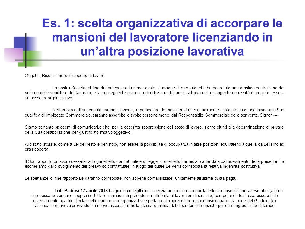 Es. 1: scelta organizzativa di accorpare le mansioni del lavoratore licenziando in unaltra posizione lavorativa Oggetto: Risoluzione del rapporto di l