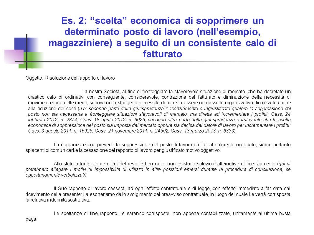 Es. 2: scelta economica di sopprimere un determinato posto di lavoro (nellesempio, magazziniere) a seguito di un consistente calo di fatturato Oggetto