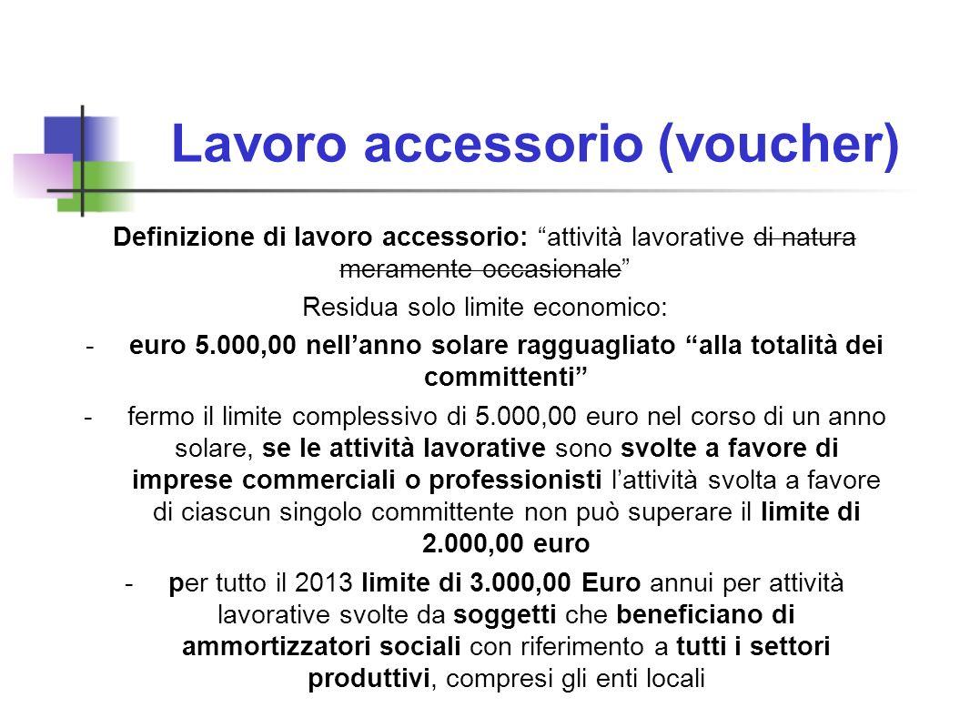 Lavoro accessorio (voucher) Definizione di lavoro accessorio: attività lavorative di natura meramente occasionale Residua solo limite economico: -euro