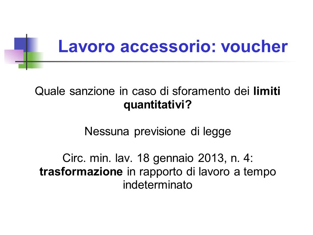 Lavoro accessorio: voucher Quale sanzione in caso di sforamento dei limiti quantitativi? Nessuna previsione di legge Circ. min. lav. 18 gennaio 2013,