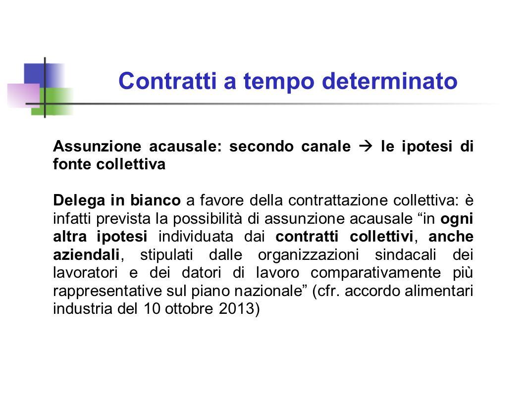 Contratti a tempo determinato Assunzione acausale: secondo canale le ipotesi di fonte collettiva Delega in bianco a favore della contrattazione collet