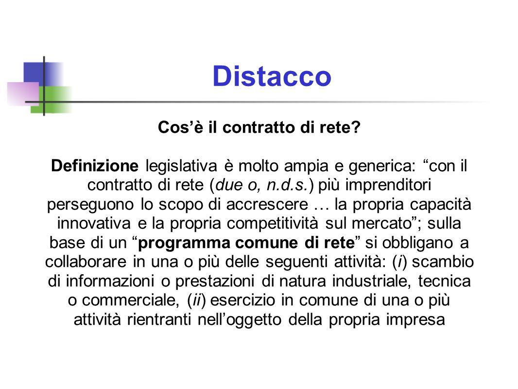 Distacco Cosè il contratto di rete? Definizione legislativa è molto ampia e generica: con il contratto di rete (due o, n.d.s.) più imprenditori perseg