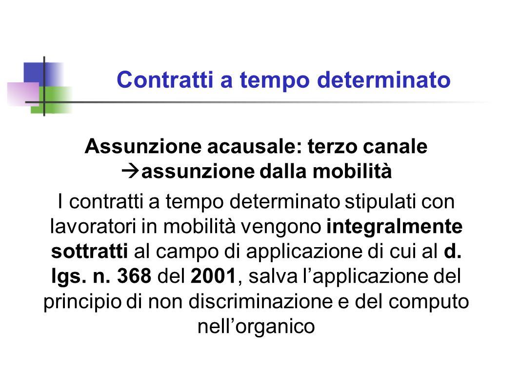 Contratti a tempo determinato Assunzione acausale: terzo canale assunzione dalla mobilità I contratti a tempo determinato stipulati con lavoratori in