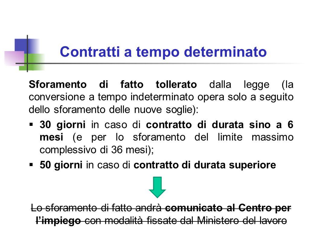 Contratti a tempo determinato Sforamento di fatto tollerato dalla legge (la conversione a tempo indeterminato opera solo a seguito dello sforamento de