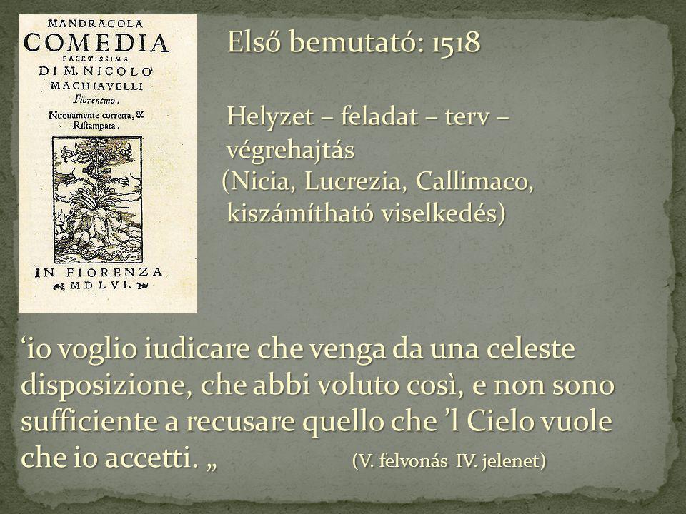 Első bemutató: 1518 Első bemutató: 1518 Helyzet – feladat – terv – végrehajtás Helyzet – feladat – terv – végrehajtás (Nicia, Lucrezia, Callimaco, kis