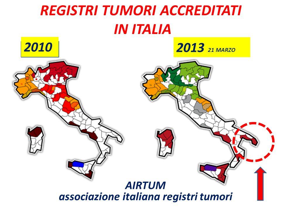 REGISTRI TUMORI ACCREDITATI IN ITALIA 2010 2013 21 MARZO AIRTUM associazione italiana registri tumori