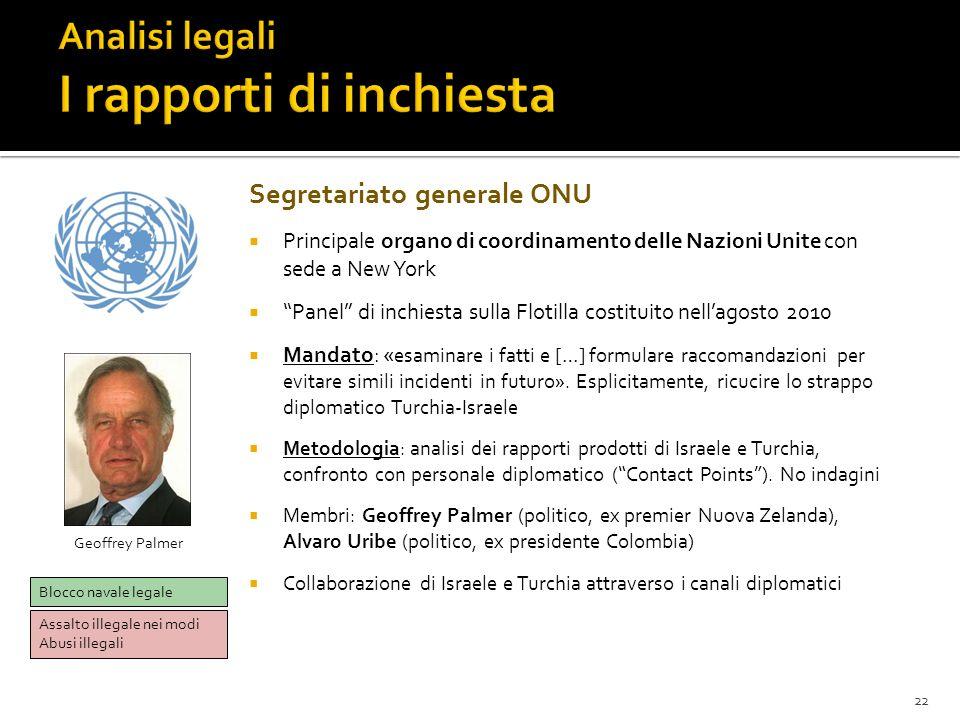 22 Segretariato generale ONU Principale organo di coordinamento delle Nazioni Unite con sede a New York Panel di inchiesta sulla Flotilla costituito n