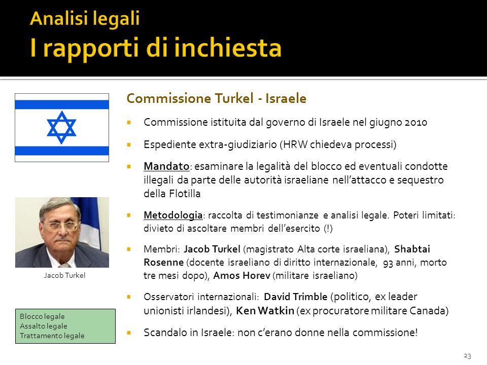 23 Commissione Turkel - Israele Commissione istituita dal governo di Israele nel giugno 2010 Espediente extra-giudiziario (HRW chiedeva processi) Mand