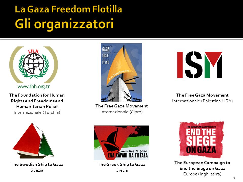 The Foundation for Human Rights and Freedoms and Humanitarian Relief Internazionale (Turchia) The Greek Ship to Gaza Grecia The European Campaign to End the Siege on Gaza Europa (Inghilterra) The Swedish Ship to Gaza Svezia The Free Gaza Movement Internazionale (Cipro) The Free Gaza Movement Internazionale (Palestina-USA) 4
