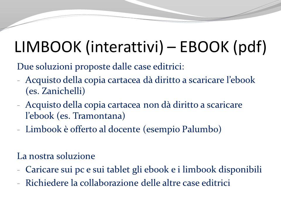 LIMBOOK (interattivi) – EBOOK (pdf) Due soluzioni proposte dalle case editrici: - Acquisto della copia cartacea dà diritto a scaricare lebook (es. Zan
