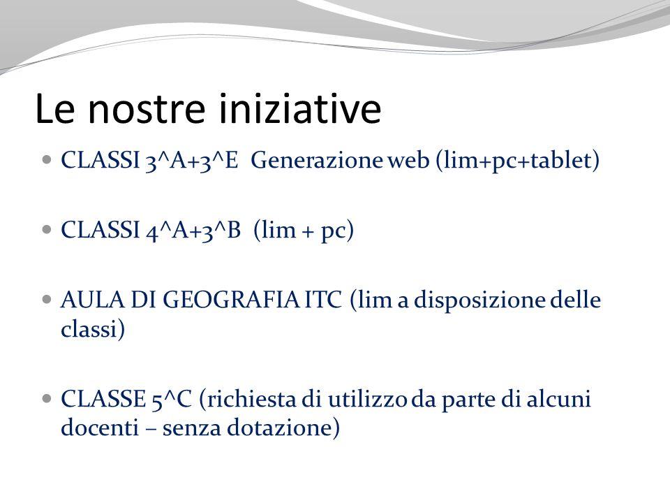 Le nostre iniziative CLASSI 3^A+3^E Generazione web (lim+pc+tablet) CLASSI 4^A+3^B (lim + pc) AULA DI GEOGRAFIA ITC (lim a disposizione delle classi)