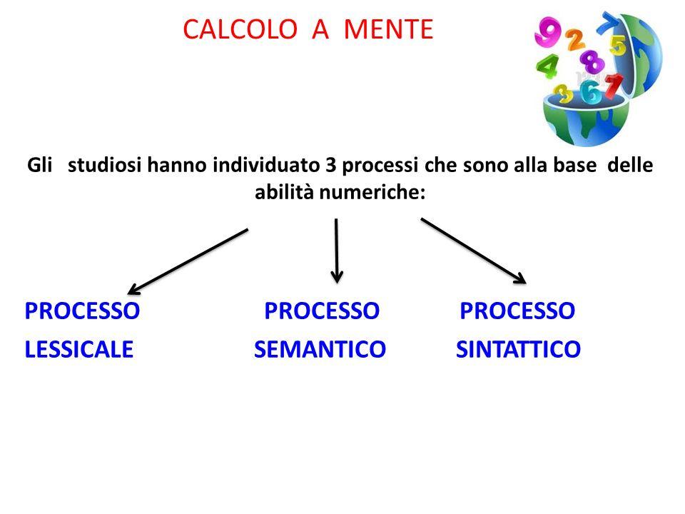 CALCOLO A MENTE Gli studiosi hanno individuato 3 processi che sono alla base delle abilità numeriche: PROCESSO PROCESSO PROCESSO LESSICALE SEMANTICO S