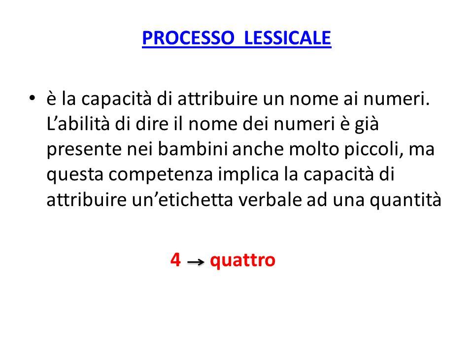 PROCESSO LESSICALE è la capacità di attribuire un nome ai numeri. Labilità di dire il nome dei numeri è già presente nei bambini anche molto piccoli,