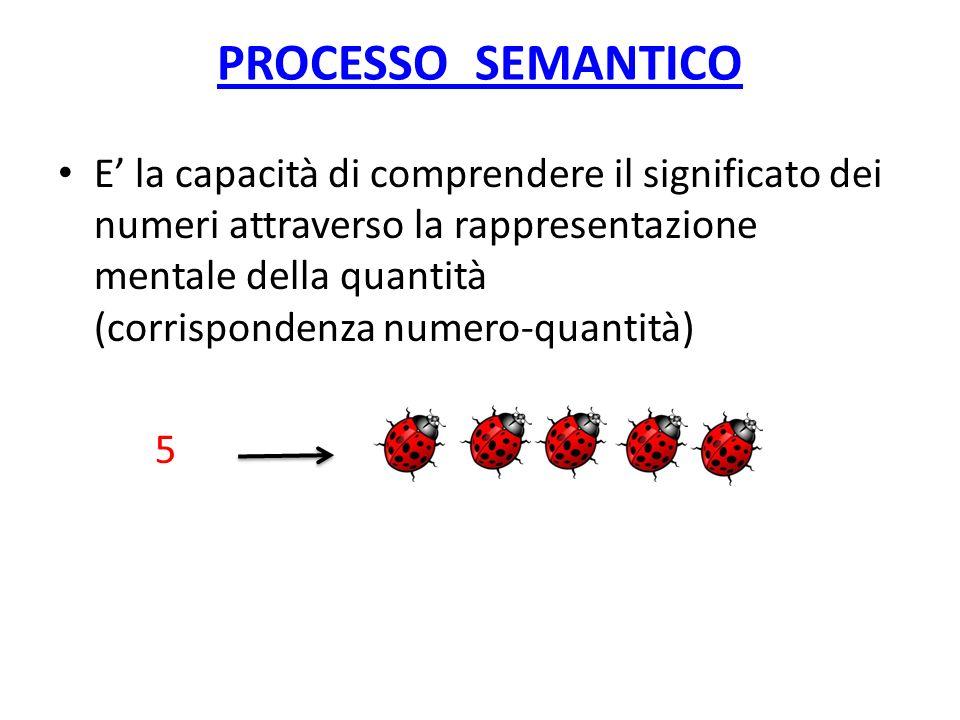 PROCESSO SEMANTICO E la capacità di comprendere il significato dei numeri attraverso la rappresentazione mentale della quantità (corrispondenza numero