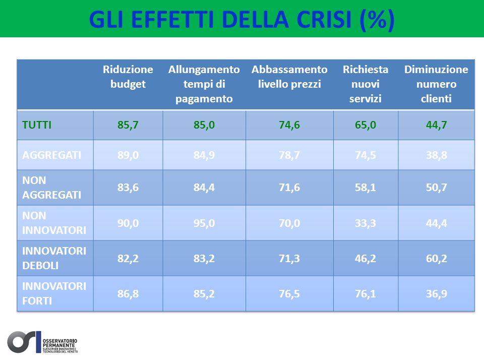 GLI EFFETTI DELLA CRISI (%)