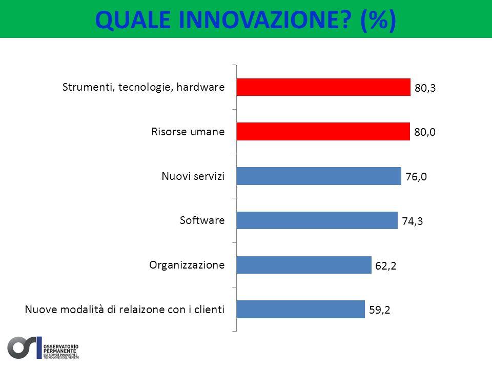 LE RAGIONI DELLINNOVAZIONE Solo il 2,5% del campione dichiara di aver fatto innovazione negli ultimi 3 anni per uscire dalla crisi.