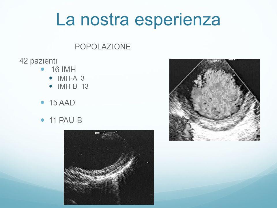 La nostra esperienza IMH-A 3 1 regressione 1 evoluzione in dissecazione sostituzione aorta asc ed emiarco - residua IMH-B 1 evoluzione in dissecazione exitus in s.o.