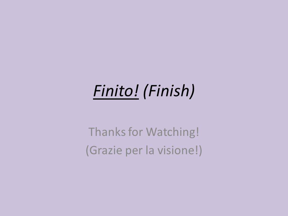 Finito! (Finish) Thanks for Watching! (Grazie per la visione!)