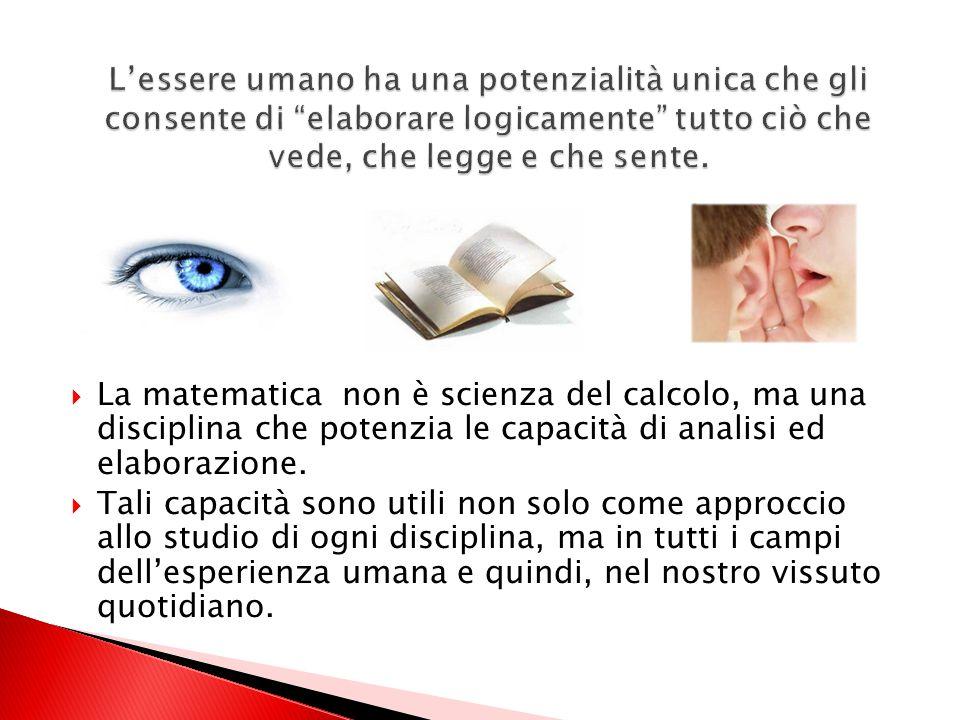 La matematica non è scienza del calcolo, ma una disciplina che potenzia le capacità di analisi ed elaborazione.
