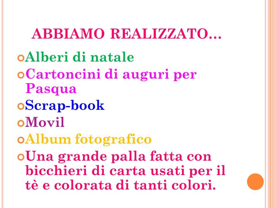 ABBIAMO REALIZZATO… Alberi di natale Cartoncini di auguri per Pasqua Scrap-book Movil Album fotografico Una grande palla fatta con bicchieri di carta usati per il tè e colorata di tanti colori.