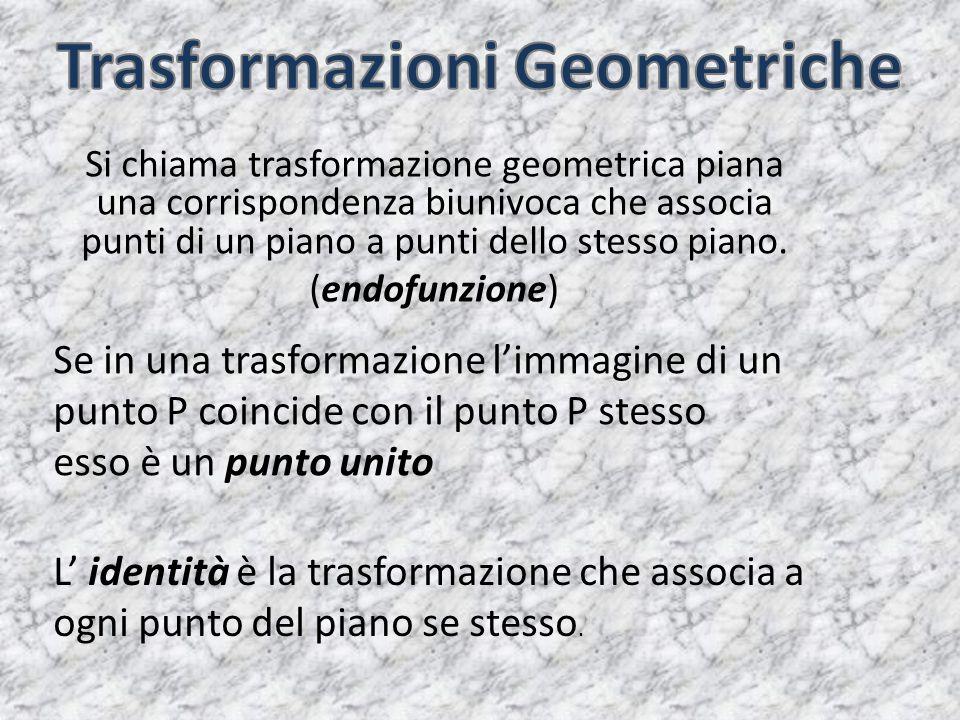 Si chiama trasformazione geometrica piana una corrispondenza biunivoca che associa punti di un piano a punti dello stesso piano. (endofunzione) Se in