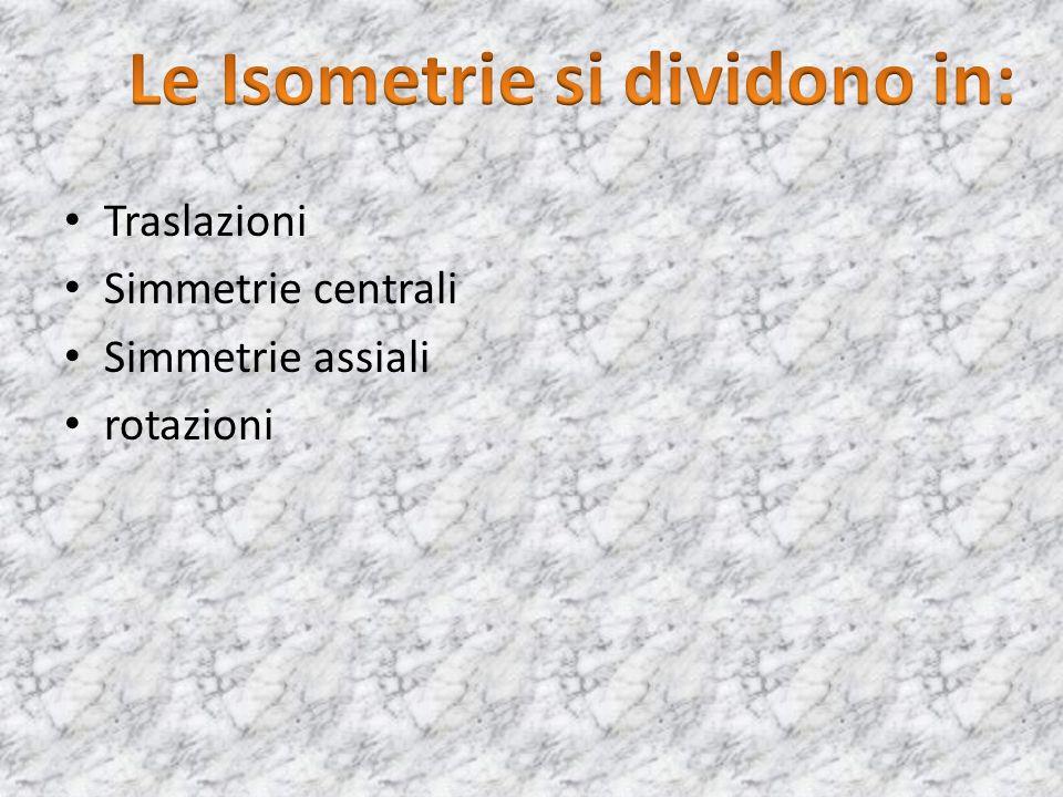 Traslazioni Simmetrie centrali Simmetrie assiali rotazioni