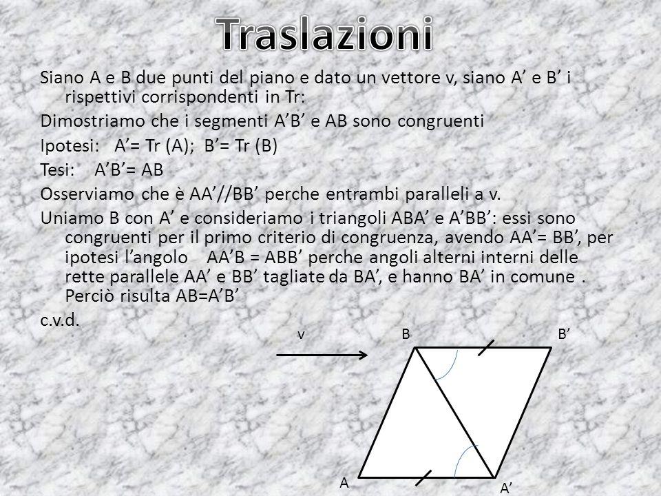 Siano A e B due punti del piano e dato un vettore v, siano A e B i rispettivi corrispondenti in Tr: Dimostriamo che i segmenti AB e AB sono congruenti