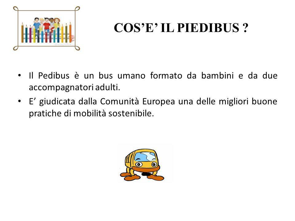 COSE IL PIEDIBUS ? Il Pedibus è un bus umano formato da bambini e da due accompagnatori adulti. E giudicata dalla Comunità Europea una delle migliori