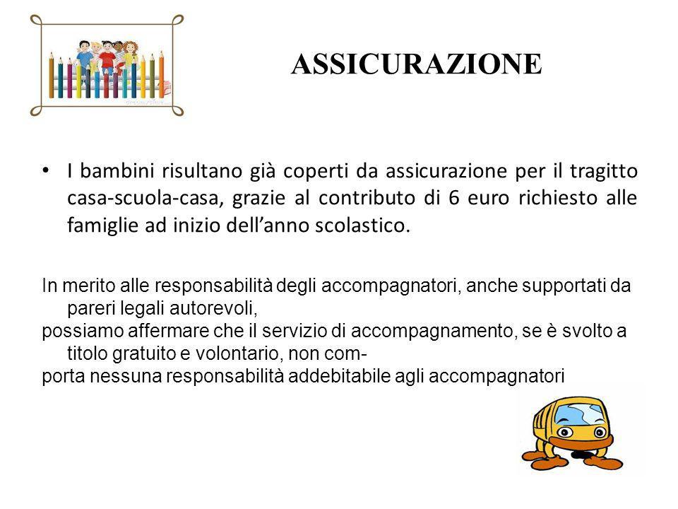 ASSICURAZIONE I bambini risultano già coperti da assicurazione per il tragitto casa-scuola-casa, grazie al contributo di 6 euro richiesto alle famigli