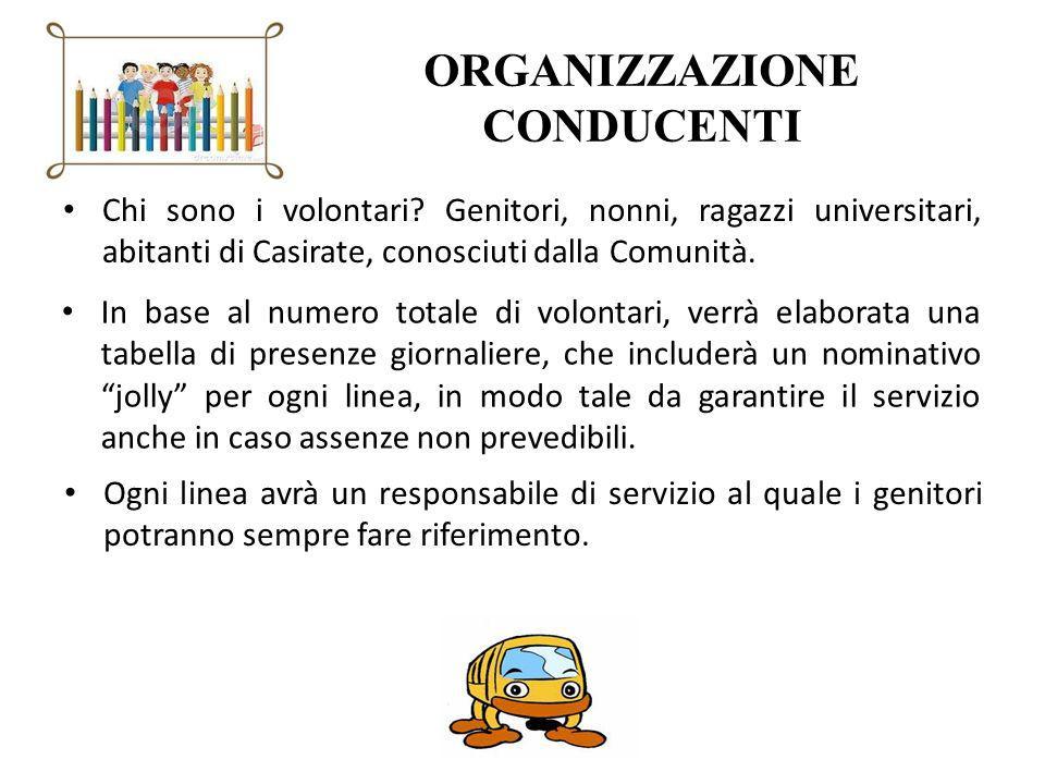 ORGANIZZAZIONE CONDUCENTI Chi sono i volontari? Genitori, nonni, ragazzi universitari, abitanti di Casirate, conosciuti dalla Comunità. In base al num