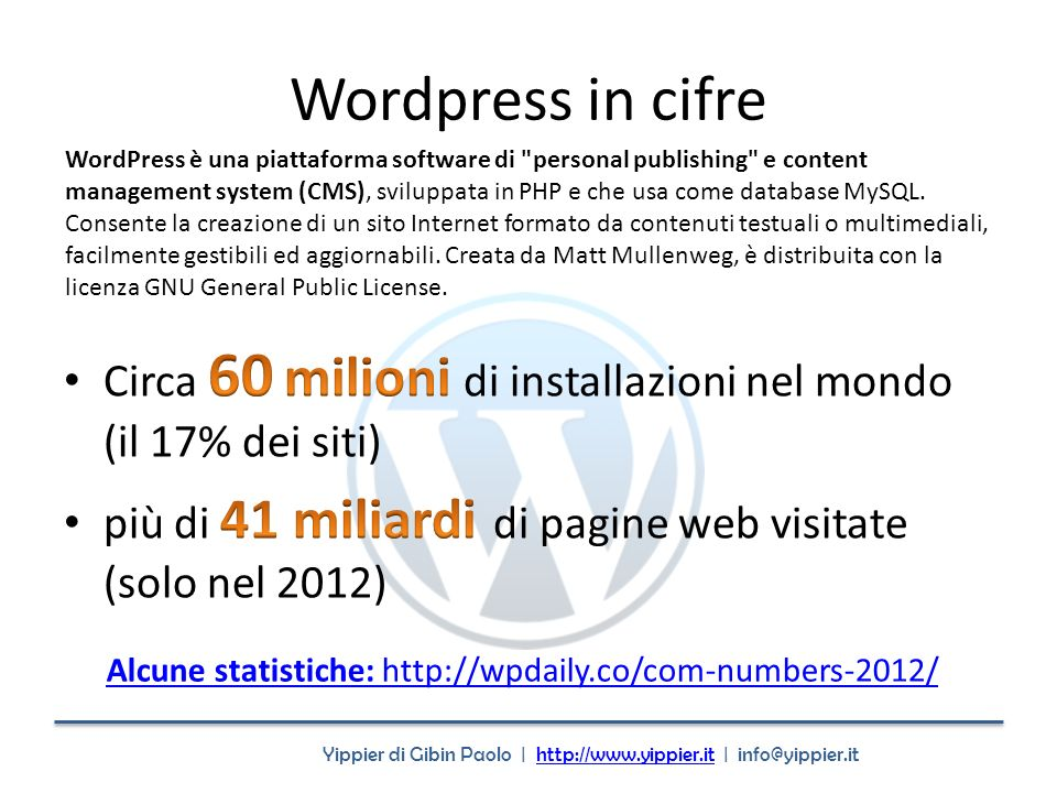 Yippier di Gibin Paolo | http://www.yippier.it | info@yippier.ithttp://www.yippier.it Wordpress in cifre Alcune statistiche: http://wpdaily.co/com-num