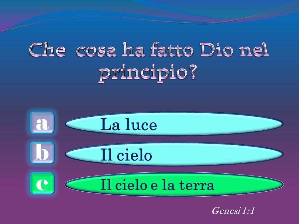 a c b La luce Il cielo Il cielo e la terra Genesi 1:1