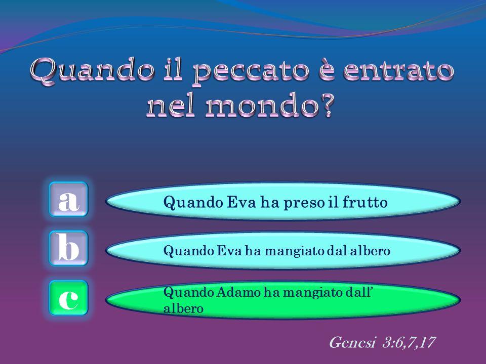 a c b Quando Eva ha preso il frutto Quando Eva ha mangiato dal albero Quando Adamo ha mangiato dall albero Genesi 3:6,7,17