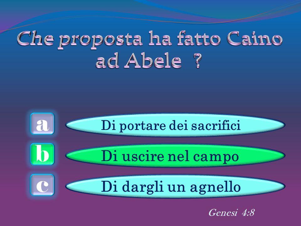 a c b Di uscire nel campo Di dargli un agnello Genesi 4:8 Di portare dei sacrifici