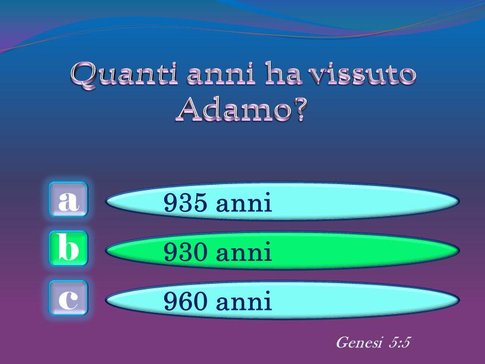 a c b 935 anni 930 anni 960 anni Genesi 5:5