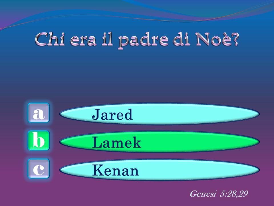 a c b Jared Lamek Kenan Genesi 5:28,29
