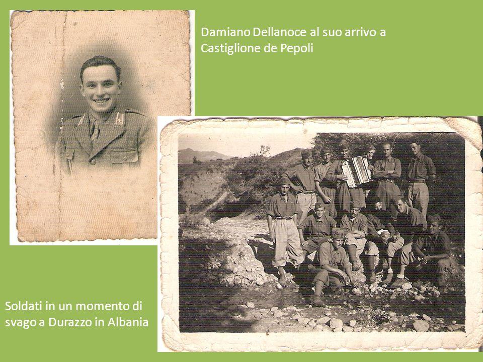 Damiano Dellanoce al suo arrivo a Castiglione de Pepoli Soldati in un momento di svago a Durazzo in Albania