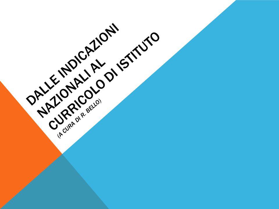 DALLE INDICAZIONI NAZIONALI AL CURRICOLO DI ISTITUTO (A CURA DI R. BELLO)