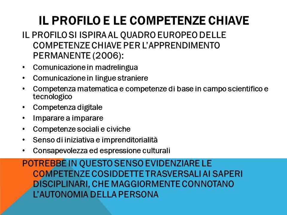 IL PROFILO E LE COMPETENZE CHIAVE IL PROFILO SI ISPIRA AL QUADRO EUROPEO DELLE COMPETENZE CHIAVE PER LAPPRENDIMENTO PERMANENTE (2006): Comunicazione i