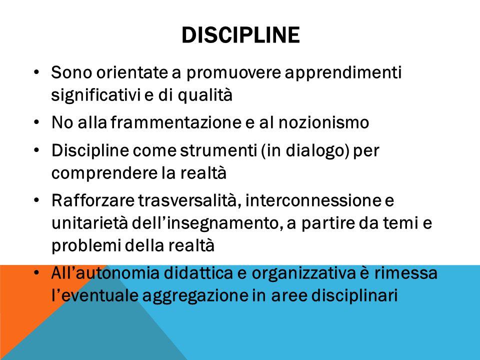 DISCIPLINE Sono orientate a promuovere apprendimenti significativi e di qualità No alla frammentazione e al nozionismo Discipline come strumenti (in d