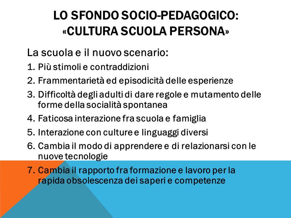 LO SFONDO SOCIO-PEDAGOGICO: «CULTURA SCUOLA PERSONA» La scuola e il nuovo scenario: 1.Più stimoli e contraddizioni 2.Frammentarietà ed episodicità del
