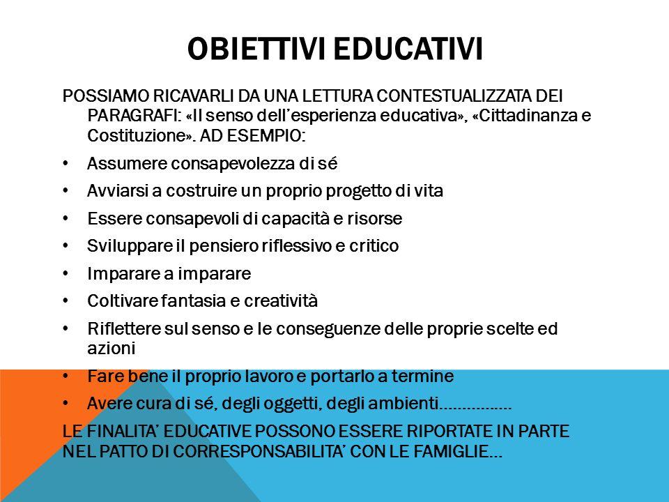 OBIETTIVI EDUCATIVI POSSIAMO RICAVARLI DA UNA LETTURA CONTESTUALIZZATA DEI PARAGRAFI: «Il senso dellesperienza educativa», «Cittadinanza e Costituzion