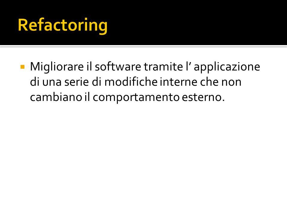 Migliorare il software tramite l applicazione di una serie di modifiche interne che non cambiano il comportamento esterno.