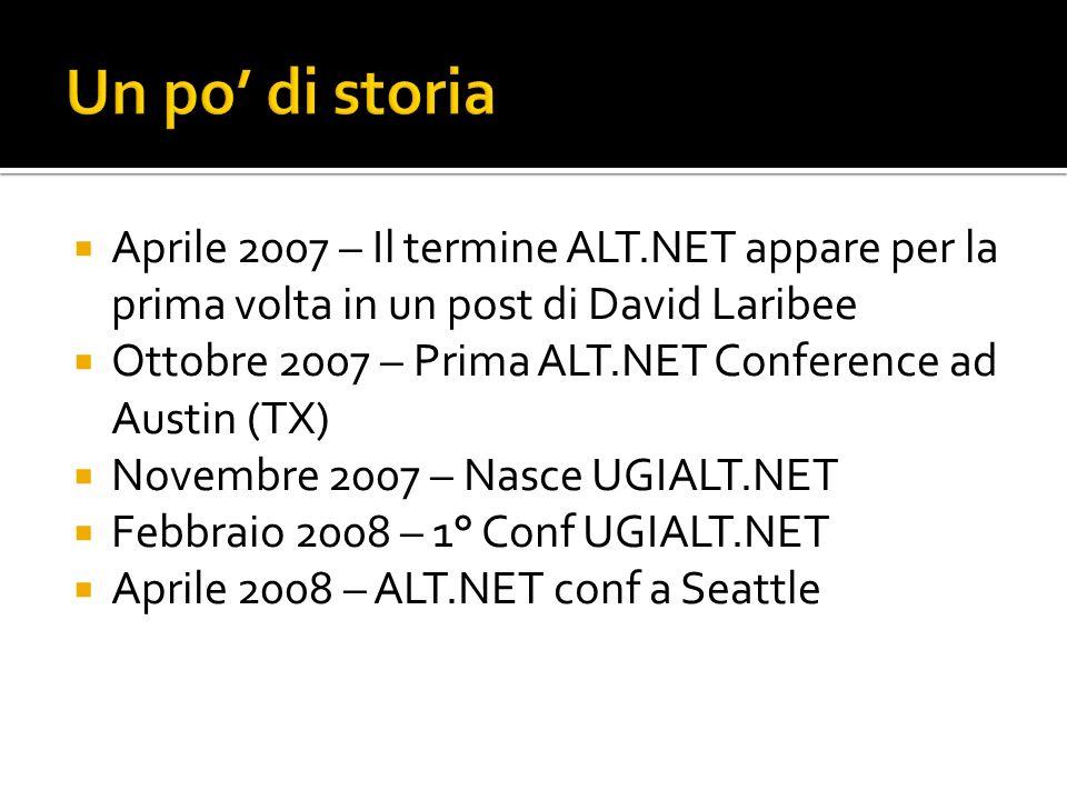 Aprile 2007 – Il termine ALT.NET appare per la prima volta in un post di David Laribee Ottobre 2007 – Prima ALT.NET Conference ad Austin (TX) Novembre 2007 – Nasce UGIALT.NET Febbraio 2008 – 1° Conf UGIALT.NET Aprile 2008 – ALT.NET conf a Seattle