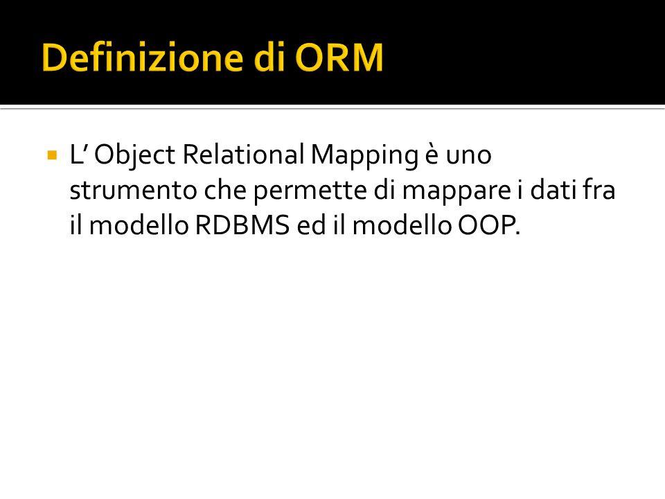 L Object Relational Mapping è uno strumento che permette di mappare i dati fra il modello RDBMS ed il modello OOP.